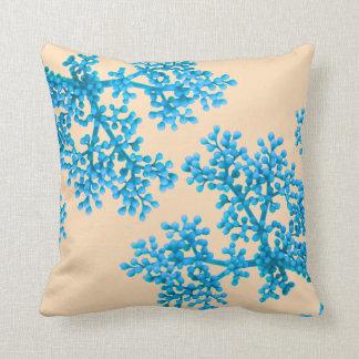 Brilliant Azure Flower Buds Throw Pillow