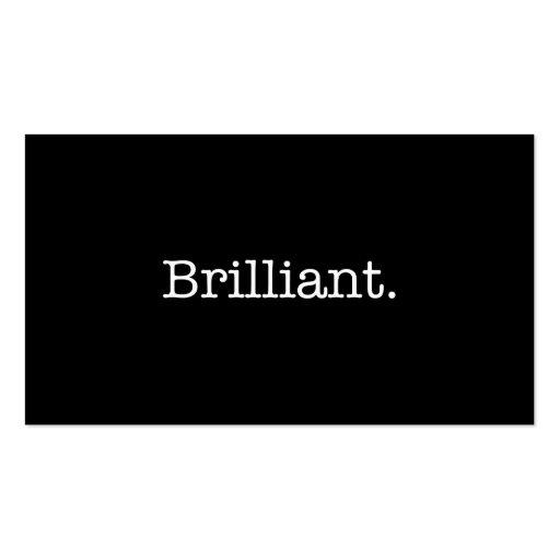 Brilliant black and white quote template business card for Brilliant business cards
