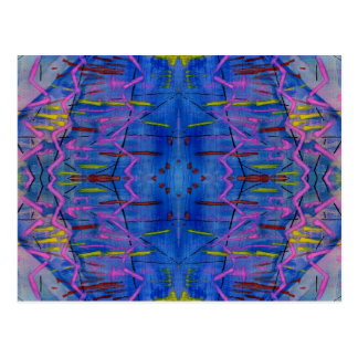 Brilliant Blue Abstract Line and Shape Design Post Card