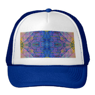 Brilliant Blue Abstract Line and Shape Design Trucker Hat