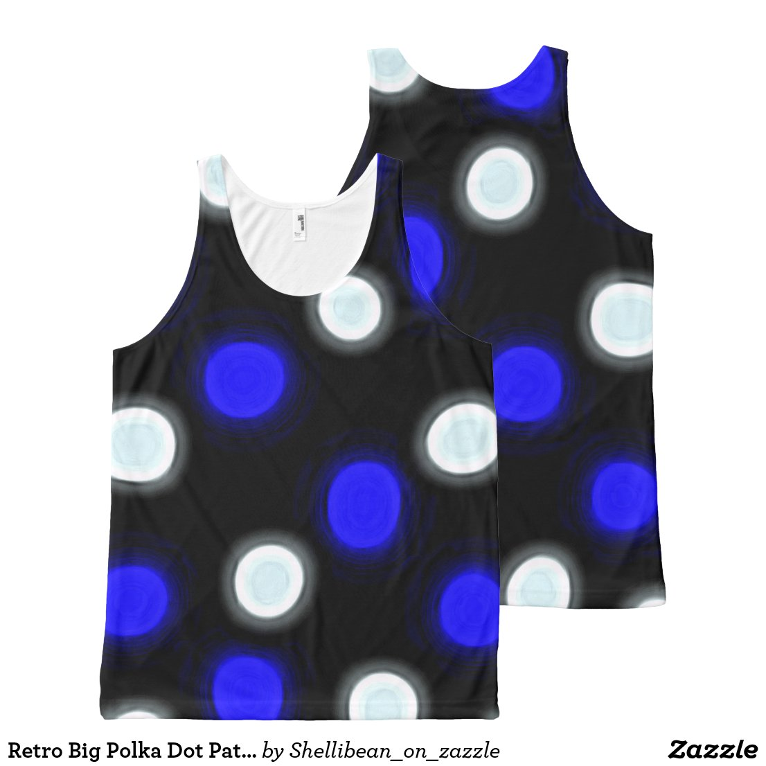 Brilliant Blue and White Polka Dots on Black All-Over-Print Tank Top