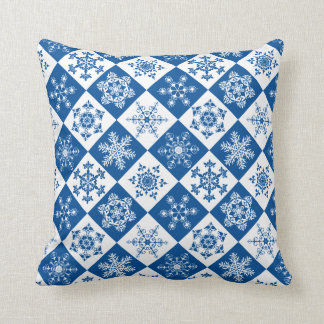 Brilliant Blue and White Ski Cabin Holiday Throw Pillow