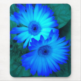 Brilliant Blue Daisies 2 Mouse Pad