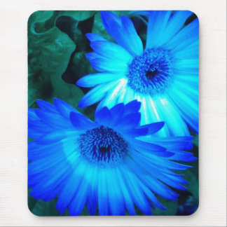 Brilliant Blue Daisies Mouse Pad