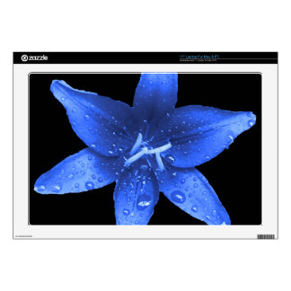 "Brilliant Blue Lily Decal For 17"" Laptop"
