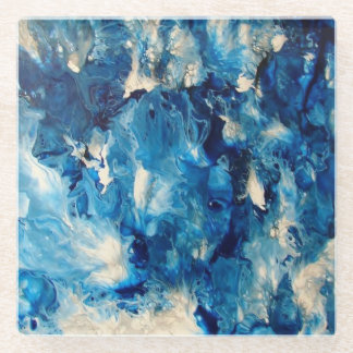 Brilliant Blue Marble Glass Coaster