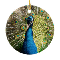 Brilliant Blue Peacock Ceramic Ornament