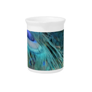 Brilliant Blue Peacock Feathers Drink Pitcher