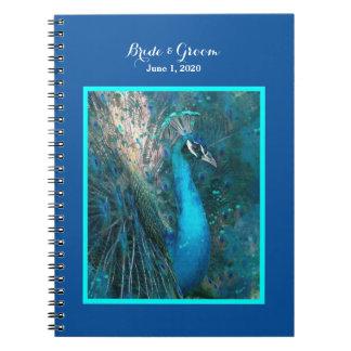 Brilliant Blue Peacock Wedding Notebook