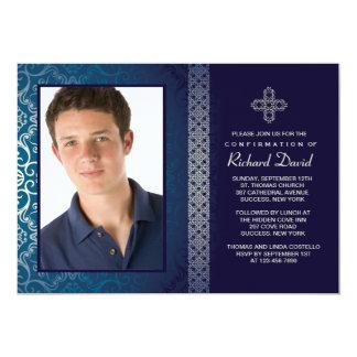 "Brilliant Blue Photo Invitation (Horizontal) 5"" X 7"" Invitation Card"