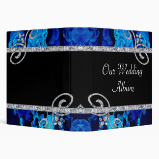 Brilliant Blue Roses & Diamond Swirls Wedding 3 Ring Binders