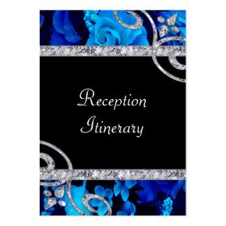 Brilliant Blue Roses & Diamond Swirls Wedding Large Business Cards (Pack Of 100)