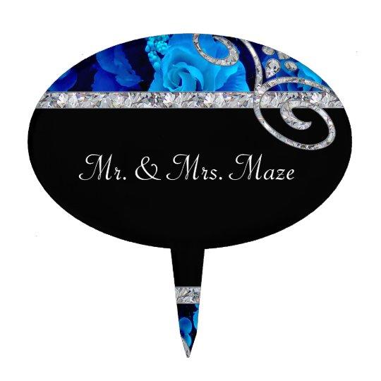 Brilliant Blue Roses & Diamond Swirls Wedding Cake Topper