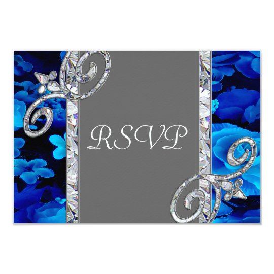 Brilliant Blue Roses & Diamond Swirls Wedding CST2 Card