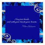 Brilliant Blue Roses & Diamond Swirls Wedding DBNF Personalized Invites