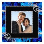 Brilliant Blue Roses & Diamond Swirls Wedding Custom Invitations