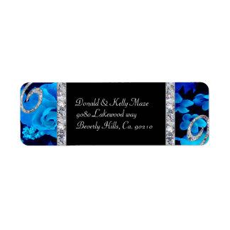 Brilliant Blue Roses & Diamond Swirls Wedding Return Address Label