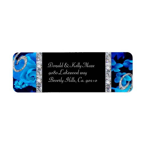 Brilliant Blue Roses & Diamond Swirls Wedding Custom Return Address Labels
