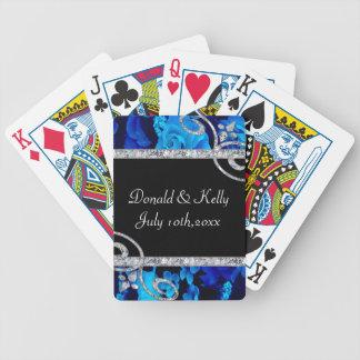 Brilliant Blue Roses & Diamond Swirls Wedding Card Decks