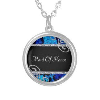 Brilliant Blue Roses & Diamond Swirls Wedding Silver Plated Necklace