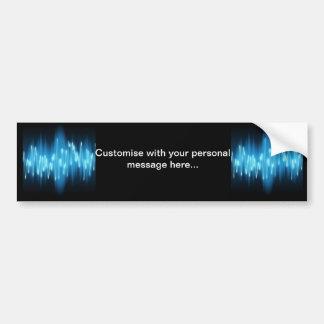 Brilliant Blue Sound Waves on Black Car Bumper Sticker