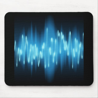 Brilliant Blue Sound Waves on Black Mouse Pad