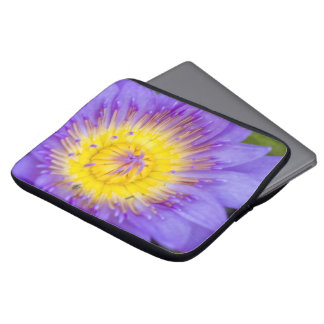 Brilliant Blue Water Lily Bloom photo Laptop Sleeves