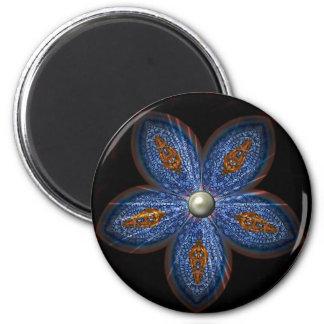 Brilliant Blues Batik 2 Inch Round Magnet