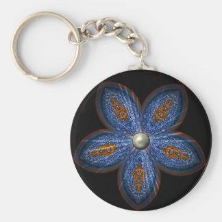 Brilliant Blues Batik Basic Round Button Keychain