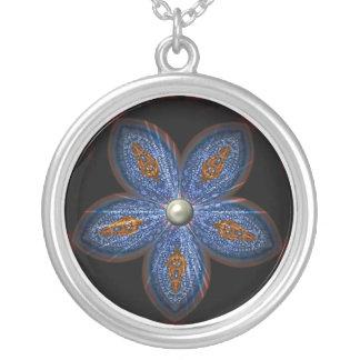Brilliant Blues Batik Round Pendant Necklace
