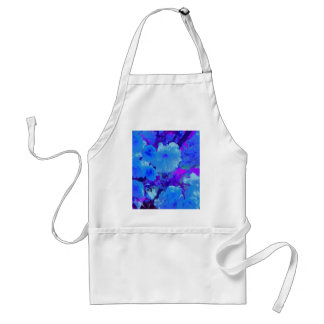 Brilliant Bright Blue Flowers with Fushia Adult Apron