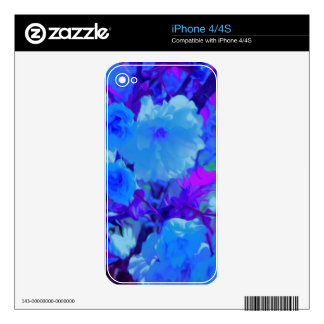 Brilliant Bright Blue Flowers with Fushia Decal For The iPhone 4