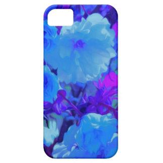 Brilliant Bright Blue Flowers with Fushia iPhone SE/5/5s Case