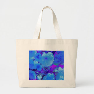 Brilliant Bright Blue Flowers with Fushia Large Tote Bag