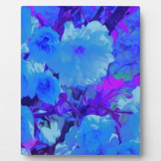 Brilliant Bright Blue Flowers with Fushia Plaque