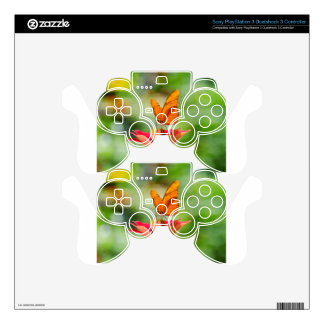 Brilliant Butterfly on Bright Orange Gerber Daisy PS3 Controller Decals