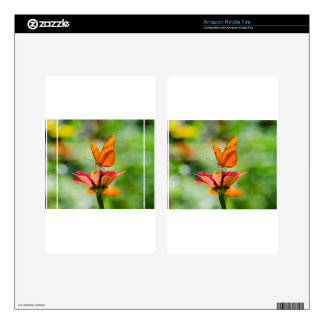 Brilliant Butterfly on Bright Orange Gerber Daisy Skin For Kindle Fire