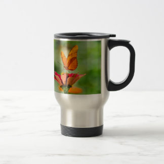 Brilliant Butterfly on Bright Orange Gerber Daisy Travel Mug