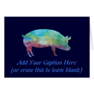Brilliant Color-washed Pigs Card