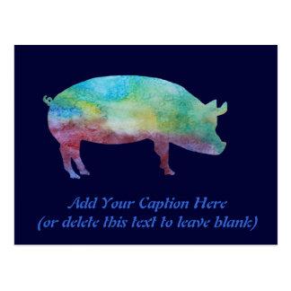 Brilliant Color-washed Pigs Postcard