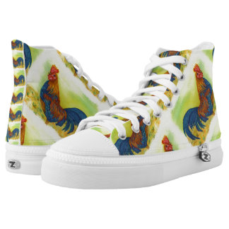 BRILLIANT COLORFUL ROOSTER PRINTED SHOES