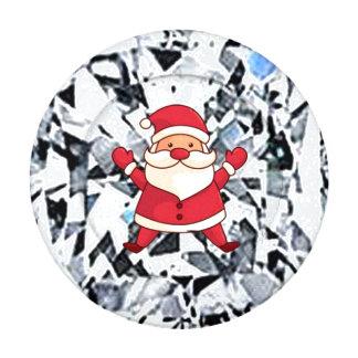 Brilliant cut white gem with Santa Claus Button Covers