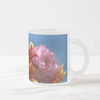 Brilliant Dahlias Frosted Glass Coffee Mug