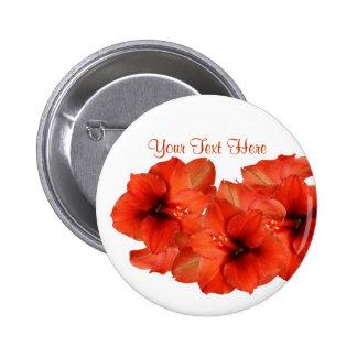 Brilliant Fire Engine Red Amaryllis Design Button