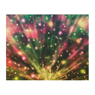 Brilliant Fireworks Wood Canvas