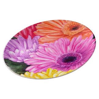 BRILLIANT GERBER FLOWERS PORCELAIN WALL PLATE