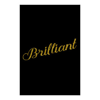 Brilliant Gold Faux Glitter Metallic Sequins Quote Poster