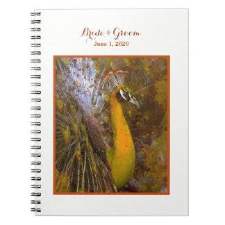 Brilliant Gold Peacock Wedding Notebook