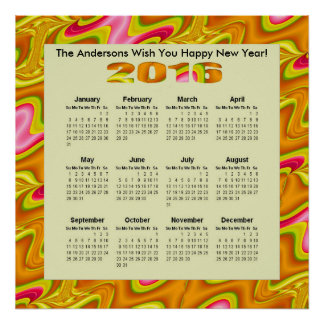 Brilliant Gold Pink Abstract 2016 yearly Calendar Poster