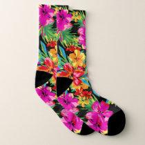 Brilliant Hawaiian Floral Pattern Socks